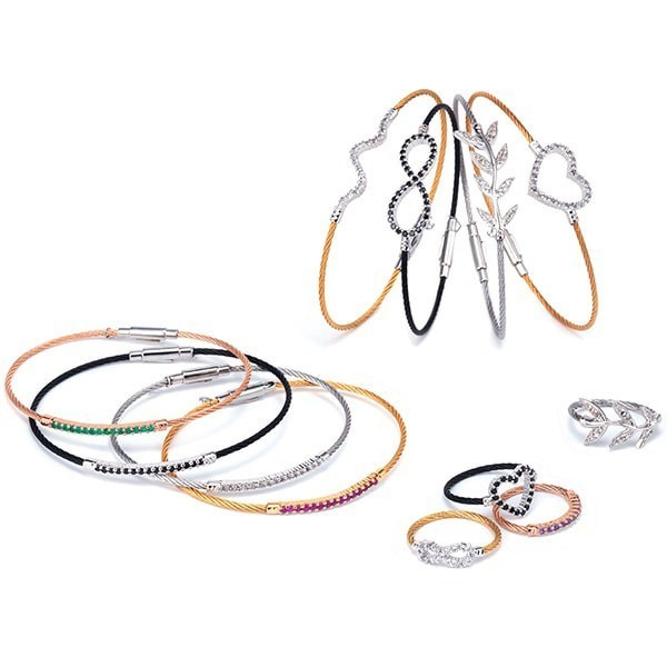 Cable bangle charriol forever young colors green