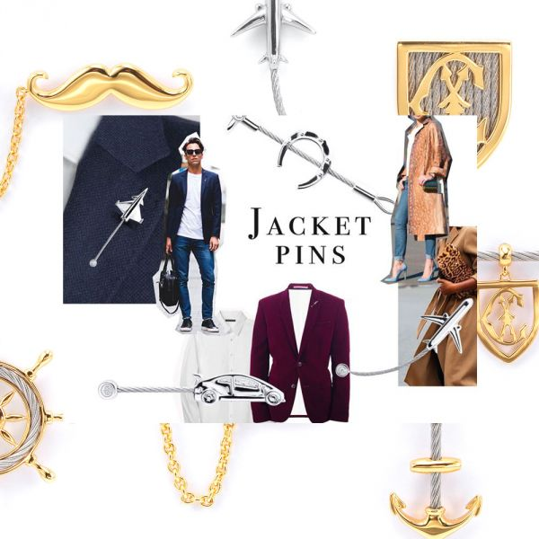 Jacket Pins Silver Yellow Gold