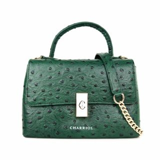 Charriol Leather Classic Bag with block twist lock